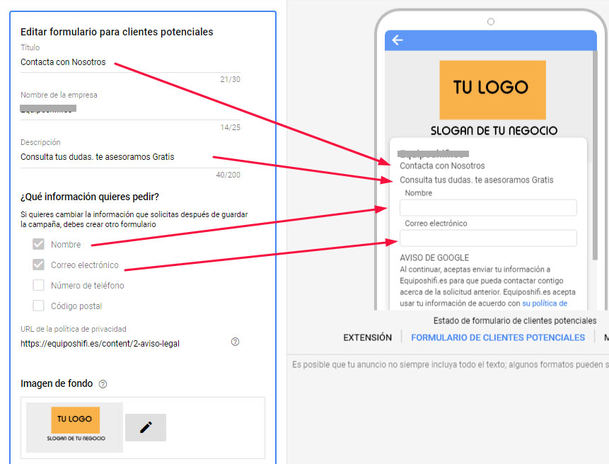 modulo contatto google